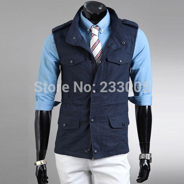 Wholesale-New Fashion Brand Mens Multi-pocket Epaulet Designer Fishing  Tactical Vest Men Waistcoat Jacket Coletes Jaquetas