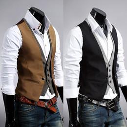 anzüge für männer doppel-tasten Rabatt Weste-Anzug-Art-Doppelt-überzogene einzelne Reihenknopf-Weste-Westen der Großhandels-heißen Verkaufs-Männer dünne