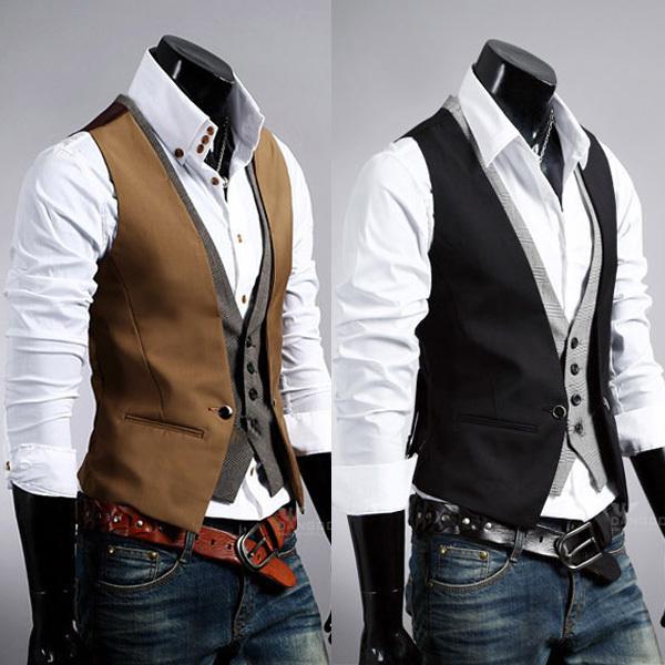 maluokui / Atacado-Hot Sale Men Slim Vest Terno Estilo Double Layered Single Row Botão Vest Coletes
