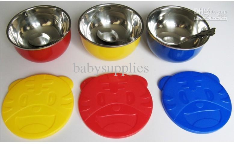 Детская посуда из нержавеющей стали двойное совпадение тигр теплоизоляция цвет мультфильм чаша