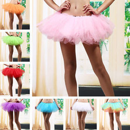 Wholesale Neon Green Ball Gown - Wholesale-5 Layers Adult Women Tutu Tulle Skirt Petticoat Dance Rave Neon Party Halloween