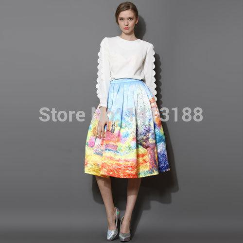 Satın Al Toptan Moda 2015 Saten Kadınlar Etekler Yaz Ilkbahar Bayan