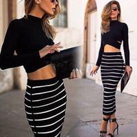 Wholesale Blouse Skirt Set - Wholesale-Lady Women Skirt Set Crop Tops and Maxi Skirt Striped bandage Stretch Sexy Long Sleeve Blouse + Long Skirts 29