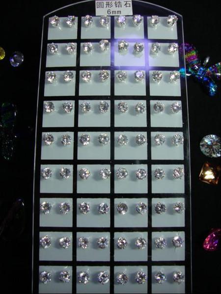 High Quality 5A+ Brilliant CZ Crystal Ear Stud Earrings 3mm~10mm Round Zircon Earings Men Women Cubic Zirconia Earrings White stones Studs