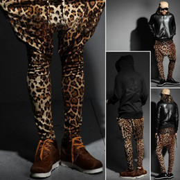 Barato Leopardo Harém Calças-Wholesale-Mens New Fashionable Leopard Hip-Hop Trendy Slacks Harem Pants Baggy Trouser R67