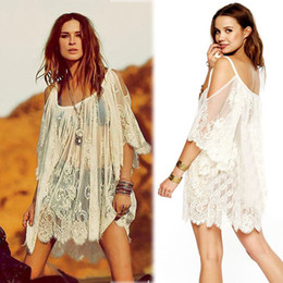 hippie clothes Promo Codes - Wholesale-Free shipping 2015 Women Dress Hippie Boho Vintage Style Lace Short Sleeve Embroidered Floral Dresses Crochet Women Clothes