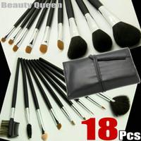 Wholesale Makeup Brush 18 Black - Wholesale - 18 pcs Professional MAKEUP BRUSHES SET GOAT HAIR Black Bag Leather Pouch NEW - FREE SHIP