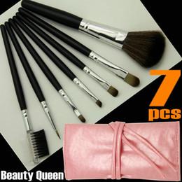 Wholesale Pro Makeup Bags - 5 Sets Lot 7 Pcs PRO MAKEUP COSMETIC BRUSHES SET GOAT HAIR Pink   Black Bag Leather Pouch FREE SHIP