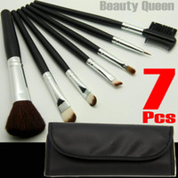 5 sätze lot 7 stücke professionelle kosmetik make-up pinsel set pinsel synthetisches haar schwarz leder tasche neues freies schiff