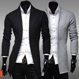 Wholesale Vintage Cardigan Xl - Wholesale-New Autumn Casual Cardigans Sweaters Mens Men's Vintage Slim Knitwear Long Sleeve Wool Sweaters Man Jacket Suit Plus Size