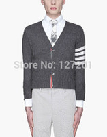 Wholesale Cardigan Sweater Brown - Wholesale-THOM BROWN men's casual knit cardigan sweater coat College Wind