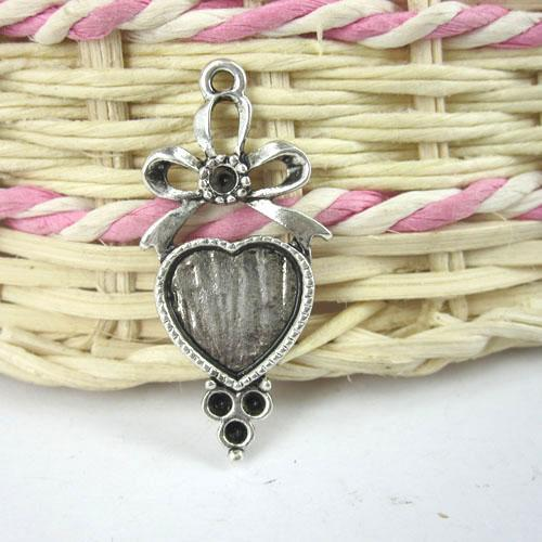 36x17mm античное серебро бантом сердце кабошон настройки(кабошон размер 11x12mm) G102