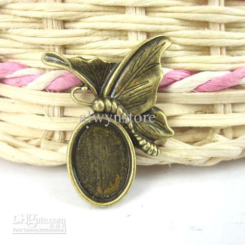 29x23mm Antique Bronze Rest Butterfly Cameo Cab Einstellungen Cabochon Größe 14x10mm G116