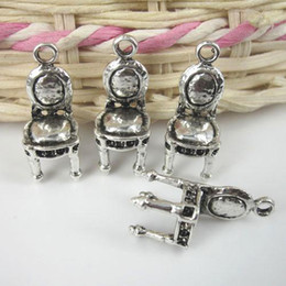 chairs charm Australia - 10pcs 22x8mm 3D cute antique silver chair charms pendants G216