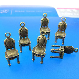 chairs charm Australia - 10pcs 22x8mm 3D cute antique bronze chair charms pendants G209
