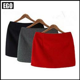 Wholesale Women S Wool Mini Skirts - Wholesale-New 2015 Autumn Fashion 8 Colors All-match Woolen Sexy A Line Plus Size Short Half-length Mini Winter Skirts For Women
