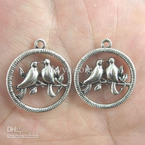 20MM العتيقة الفضة يحب الطيور في سحر قلادة جولة / قطرات G391