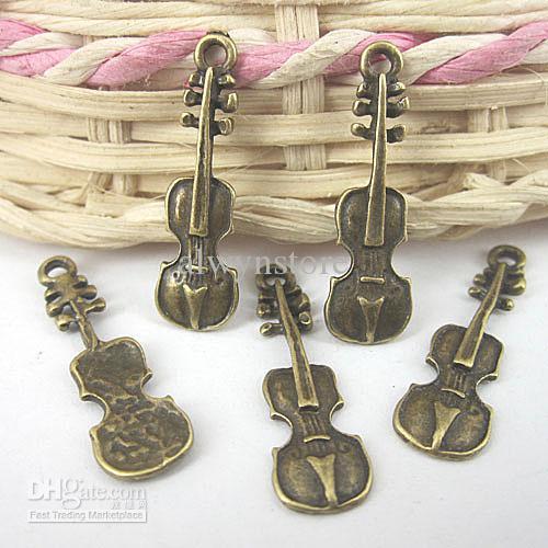 antiqued bronze instrumento de música pingente charme G576