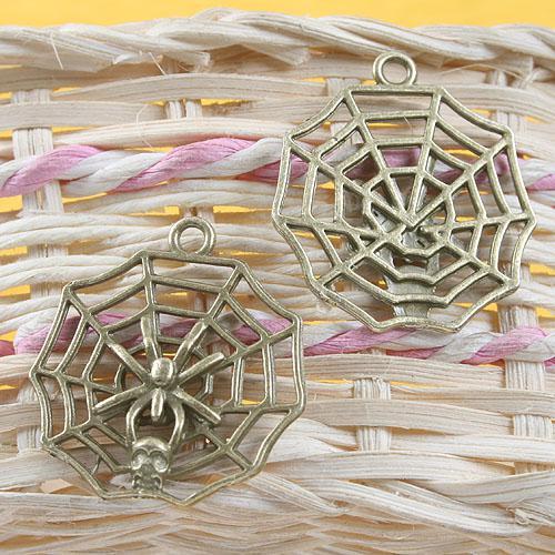 Ciondolo in bronzo anticato con motivo ragno e ragnatela G640