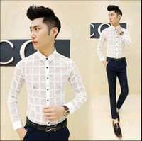 Wholesale korean lace dress xl - Wholesale-Hot 2016 New Korean Fashion Mens See Through Shirts Casual Lace Slim Fit Dress Shirt Men Shirts With Long Sleeves Black White