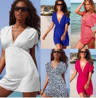 Wholesale black swim cover up dress - Wholesale-New Fashion Plus Size Women Swim Summer Dress Blouse Beach Ladies 2015 Cover-ups Skirt Dress Swimwear