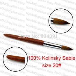 Wholesale Acrylic Brushes Sable - Wholesale-NEW Arrival 100% Kolinsky Sable Pen Red wood Acrylic Brush for Nail Art Brush size 20#