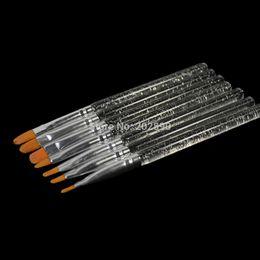 Wholesale Gel Acrylic Nail Brush - Wholesale-7pcs New Acrylic Handle Nail Brush Set UV Gel Builder Bushes Drawing Painting Tips Nails DIY Manicure Styling Tools NAO26