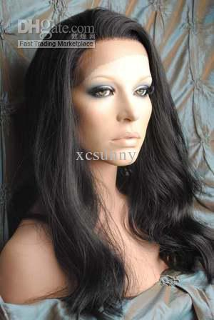 """New Gorgeous 16""""-22"""" Body Wave #1B Glueless Swiss Lace Front Human Hair Wigs 100% Indian Remy Hair"""