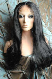 """Wholesale Hair Wigs China - XCSUNNY 16"""" -22"""" Straight #1 Jet Black Lace Front Wigs 100% Virgin Human Hair Full Lace Front Wigs From China"""