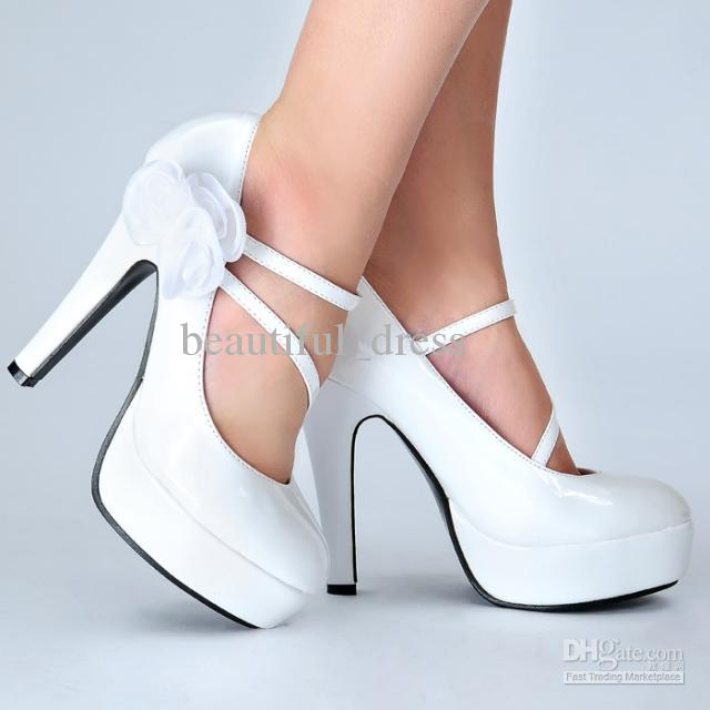 White Top Quality High Heels Glitter Powder Wedding Shoes ...