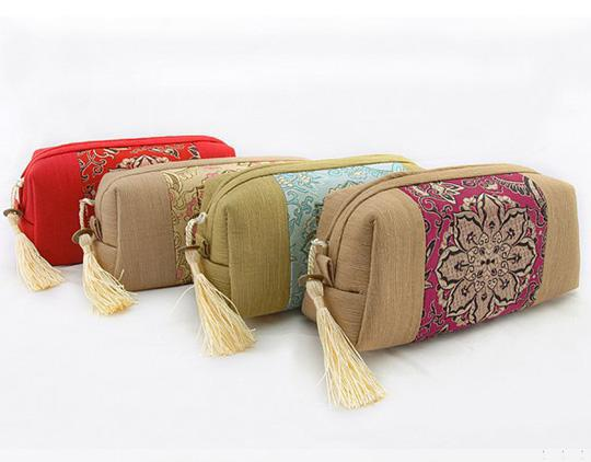 Patchwork borla de la cremallera de viaje maquillaje cosmético bolsa de almacenamiento de tela china bordado de embalaje bolsa de la joyería de la baratija para mujeres monedero