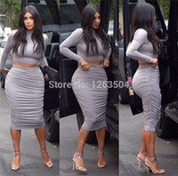 Wholesale Kardashian Bodycon - Wholesale-Sexy Kim Kardashian Gray Two Piece Pencil Dress Crop Top Dress Set Bodycon Dress Celebrity Dresses TCD054