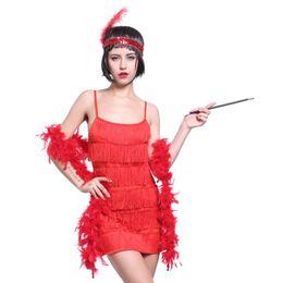 Wholesale Girls Fringe Costume - Wholesale-Fringe Style 1920's Flapper Girl Charleston Gatsby 6 layer Fancy Dress Costume