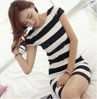 Wholesale Bodycon Dresses Multi Color - Wholesale-2015 new Sexy&Club Women O-Neck backless black white Color Patchwork Package Hip bodycon Dress 31
