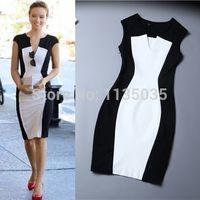 Wholesale celebs slim dress - Wholesale-New Fashion Women Summer dress Celeb Style Slim Bandage Tunic black white stitching dresses sexy Party Plus Size Bodycon Dress