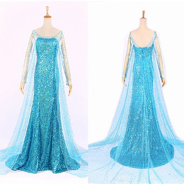 Wholesale Casual Party Costume - Wholesale-Movie Hot Fashion Elsa Queen Adult Women Party Costume Cosplay Flowery Fancy Dress