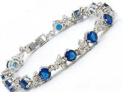 2019 Blue Stone Sapphire Silver Crystal Link Bracelet From