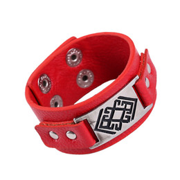 Wholesale Wristband Pvc - Wholesale- PVC leather bracelet fashion Hip-Hop wristband Pangke brand red and black strap leather bracelets for women and men