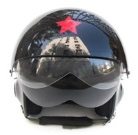 Wholesale Chinese Air Force Helmet - Chinese Military Force Air Jet Scooter Casque Open Face Casco Pilot Motorcycle Black HELMET Adult Size M , L , XL , XXL