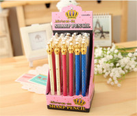 Wholesale Crown Pearl Pen - Wholesale-10 Pcs Colourful Crown Blue Ink Elegant Cute Pearl Gel Pen Office Crown Ballpoint Pens For Writing