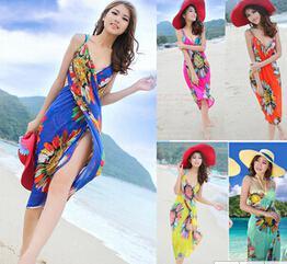 Großhandels-Saia de Praia Vertuschung gedruckte Blumenbikini-Badeanzug-Strand-Schwimmen vertuschen oben Frauen-Mischungs-bodycon Sommer-Kleid 2015