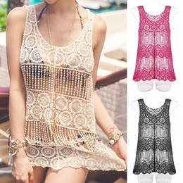 Barato Rendas Chiffon Tops Vestidos-Atacado-2015 Nova Oco Crochet Blusa Sexy Lace Tanque Bikini Cover Up solta Moda Swimwear Beach Dress Crochet Cortar Tops 38