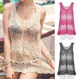 оптовая продажа Скидка Wholesale-2015 New Hollow Crochet Blouse Sexy Lace Tank Bikini Cover Up Loose Fashion Swimwear Beach Dress Crochet Crop Tops 38