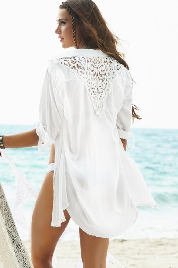 2018 wholesale women white beach shirt cardigans chiffon for Beach shirt cover up