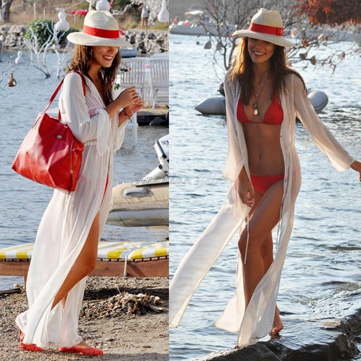 Wholesale-2015 Women Beach Cover Up Long Sleeve Loose Bathing Suit Cover Ups Ankle Length Long Beach Dress Sheer Vintage Swimsuit FC5324
