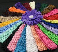 "Wholesale Wholesale Silk Flowers Picks - 1.5""crochet headbands baby hair bow 38 colors u pick 100pcs lot 1.5inch crochet headband Daisy Flower hair band Daisy crochet"