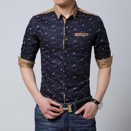 Wholesale Mens Shirts Big Sizes - Wholesale-Men long sleeve shirt casual slim fit cotton printed Male black white Shirt man Mens dress shirts Men big size 6xl plus size