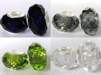 925 glas große lochperlen großhandel-Großloch-Korn-925 silberner Kern facettierte Glascharme-Korne für europäisches Armband Freies Verschiffen 100pcs