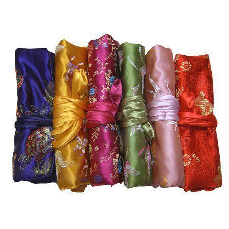 럭셔리 여행 쥬얼리 롤 스토리지 가방 실크 브로케이드 Foldable 대형 메이크업 가방 꽃 Drawstring 화장품 가방 파우치 /