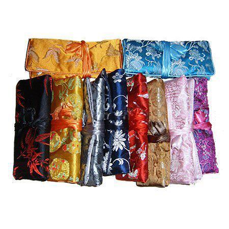 Portable Luxury Travel Silk Jewellery Roll Storage Bag Folding Zipper Large Flower Cosmetic Bag For Women Drawstring Makeup Bag